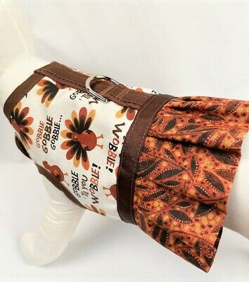 Thanksgiving Turkey Gobble Till You Wobble Dog Harness Vest With Ruffle Skirt - $13.75
