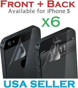 6x New HD Clear LCD Screen Protector Cover Guard For Apple iPhone 5 5th 5 Gen