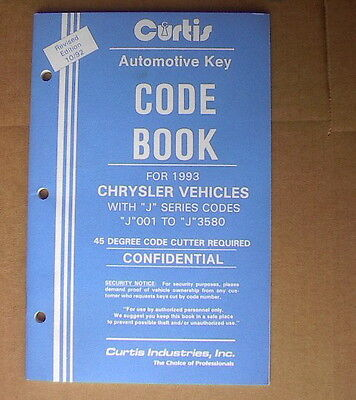 Curtis Chrysler Vehicles Key Code Book With J Revised 1092 New Old Stock