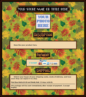 - AUCTION TEMPLATE Autumn Leaves Design - FREE SHIPPING