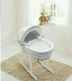 Kinder valley white Dimple white Wicker moses basket. With free rocking stand. Brand new .