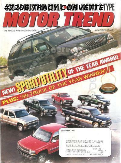 December 1998 Motor Trend 2000 Jaguar S-Type Daewoo Leganza BMW M Coupe Audi TT