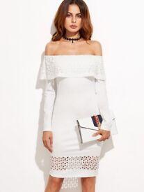 Lacer Cut Flounce Bardot Dress