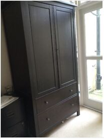 Ikea Hemnes wardrobe in Black/Brown. Original price £229.