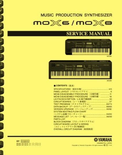 Yamaha MOX8 MOX6 Synthesizer SERVICE MANUAL - $19.95