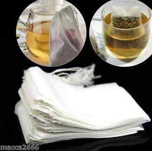 100X Empty Teabags String Heat Seal Filter Paper Herb Loose Tea Bags Teabag UK