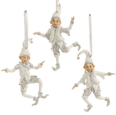 "RAZ Imports 5"" Elf Ornaments Set/3 White Silver Christmas NEW!"