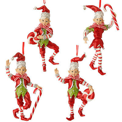 "RAZ Import 5.5"" Glittered Peppermint Elf Ornament Set/4 Christmas NEW Candy Cane"