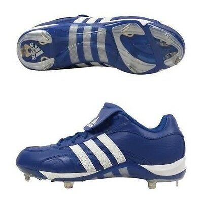 Men's Adidas Excelsior 5 Low Metal Spike Baseball Cleats Blue White Size -
