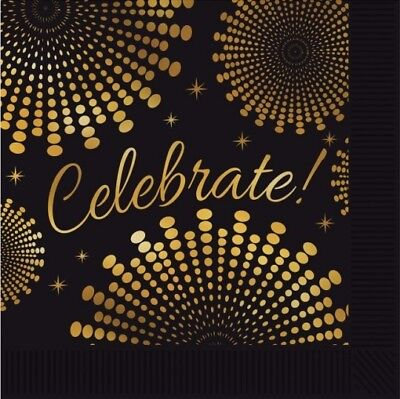 Celebrate Black and Gold Lunch Napkins 16 Pack Red Carpet Awards New Years - Black And Gold Napkins