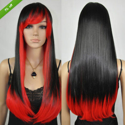 USA Women Fashion Long Straight Black Red Mix Lolita Costume Cosplay Hair Wig - Black Red Wig