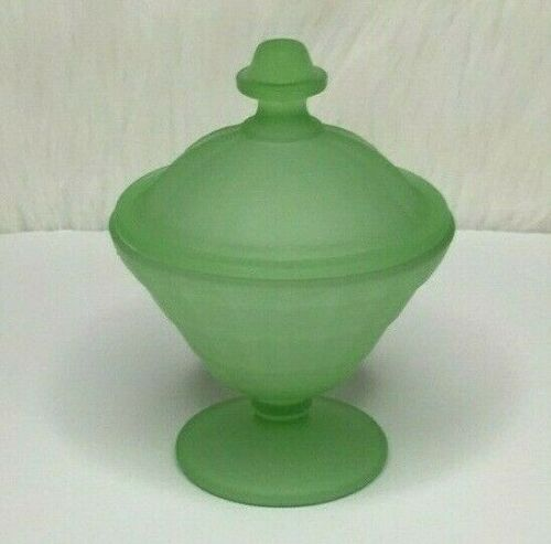 Vintage Frosted Green Glass Small Candy Dish With Lid*