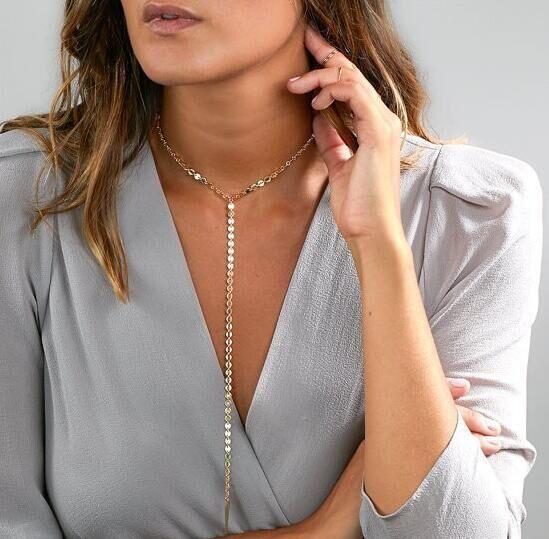 $4.22 - Women Fashion Jewelry Long Pendant Chain Choker High Statement Bib Necklace
