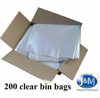 200 Large CLEAR Refuse Sacks Bin Liner Rubbish Bags thick 150g 18x29x39