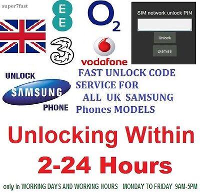 Unlocking code for Samsung Galaxy S2 3 4 5 S6 EDGE PLUS, mini Note 1 J5 EE O2 3