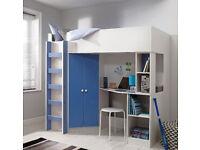 Boys Blue High Sleeper Bed with Desk, Wardrobe, Shelves and Mattress