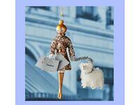 Silver TRACEY Soffieria De Carlini Lady Christmas Ornament Neiman Marcus Box
