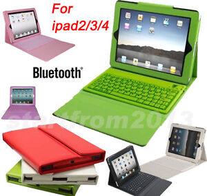 Purple Pink White Green Folding Leather Case Bluetooth Keyboard for iPad 4, 3, 2