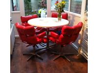 Urgent quick sale Retro vintage table and red chairs for sale 1970s era