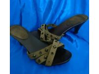 Leather studded mules size 6