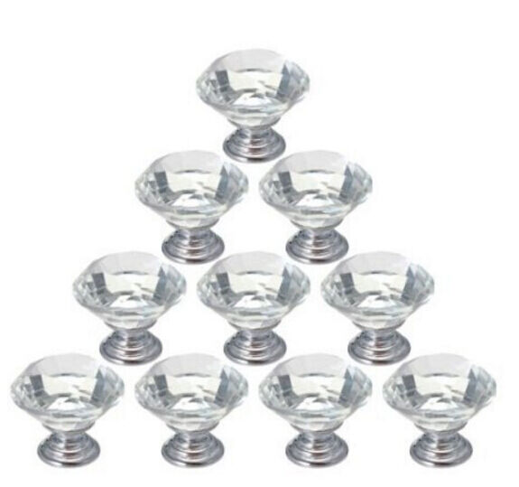 10pcs crystal glass cabinet knob diamond shape