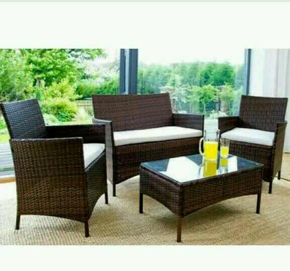 Garden Furniture Glasgow garden furniture set table chair and sofa brown rattan
