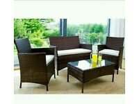 Garden Furniture Set Table Chair and Sofa Brown RATTAN Conservatory, Garden price argos £299.99