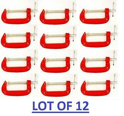 Lot Set Of 12 Red C - Clamp 3 For Carpenter Welder Wood Metal Hold