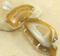 Yellow Drusy Agate Stone & Rolled Sterling Silver Necklace
