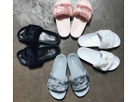 Fur fenty puma sliders all sizes available in 3 colours