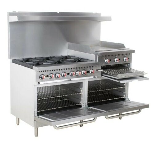 "Restaurant Range 6 Burner Gas Oven Griddle Supply Equipment 60"" Commercial Stove"