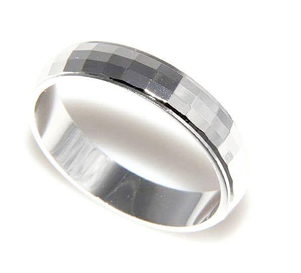 FEDINA lucida diamantata coppia fidanzamento ARGENTO 925 rodiato oro bianco