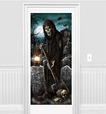 GRIM REAPER Scene Setter Halloween Party wall/door decoration cemetery bat bones (Halloween Graveyard Scene Setter)