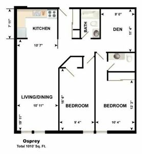 Awesome 2 + den, 1 1/2 baths Downtown for Sept