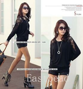 Sexy Women Girls' Batwing Lace Long Sleeve Ladie Loose T Shirt Blouse Top 3Size