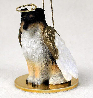 SHELTIE ANGEL DOG CHRISTMAS ORNAMENT HOLIDAY Figurine Statue Tricolor Shetland Dog Christmas Holiday Ornament