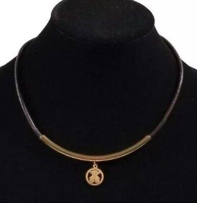 Brown rubber cord necklace bear pendant gold USA SELLER