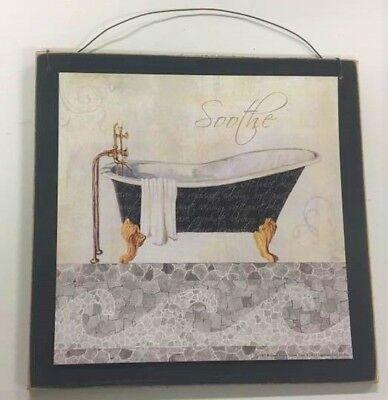 spa bathroom decor Soothe black white bathroom wall art sign bath - Black White Decorations