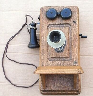 1901 Kellogg Oak Wall Crank Telephone all Original Parts