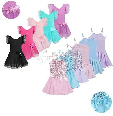 Girls Gymnastics Leotard Dress Toddler Ballet Dance Tutu Skirt Dancewear -