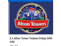 2 alton towers tickets 20/07/18