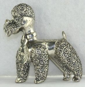 VINTAGE DANECRAFT STERLING SILVER FRENCH POODLE DOG PIN