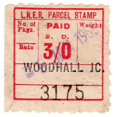 (I.B) London & North Eastern Railway : Parcel Stamp 3/- (Woodhall Junction)