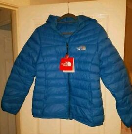 Ladies padded down blue North face jacket (L-XL) Northface