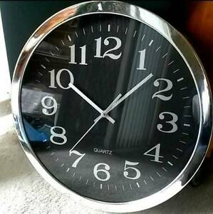 Black on silver clock, clear design QUARTZ powered Croydon Burwood Area Preview