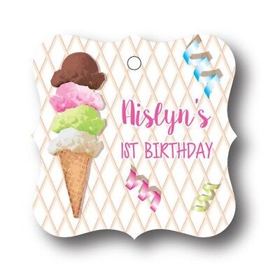 24 Ice Cream Birthday Personalized Party Favor Tag