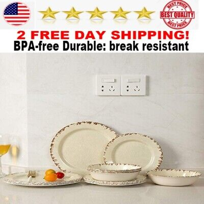 Melamine Dinnerware set 12 pcs Outdoor Use Dinner Plates and Bowls Sets NEW