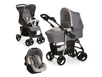 GREY HAUCK SHOPPER SLX TRIO TRAVEL SYSTEM PUSH CHAIR CARRY COT CAR SEAT MATCHING CHANGING BAG