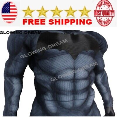 Relief Bat Logo Fullbody Relief Muscle Padding Batman Costume suit for party NEW (Full Body Batman Suit)