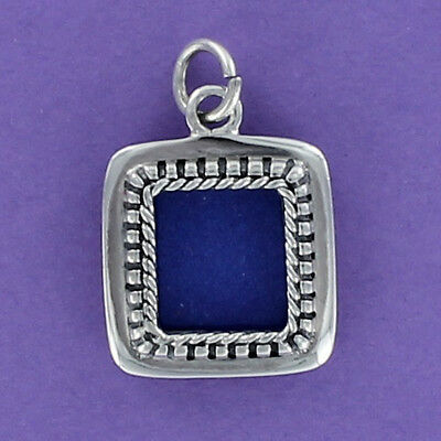 Square Photo Frame Charm Sterling Silver for Bracelet Dot Edge Slot Opening ()
